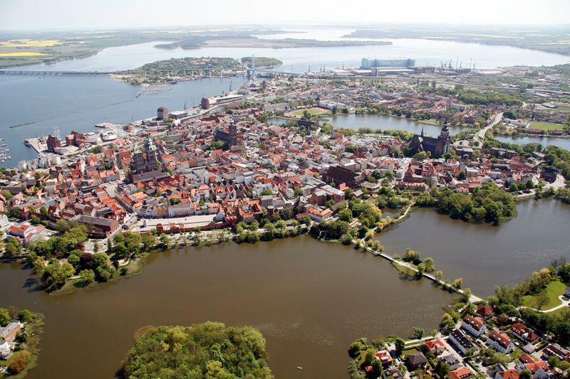 Bird's eye view of the historic centre Stralsund